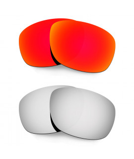 Hkuco Mens Replacement Lenses For Oakley Ten X Red/Titanium Sunglasses