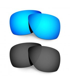 Hkuco Mens Replacement Lenses For Oakley Breadbox Sunglasses Blue/Black Polarized
