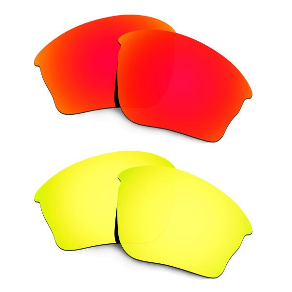 Hkuco Mens Replacement Lenses For Oakley Half Jacket XLJ Red/24K Gold Sunglasses
