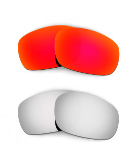Hkuco Mens Replacement Lenses For Oakley Jawbone Red/Titanium Sunglasses
