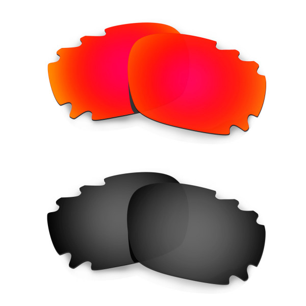 HKUCO Red+Black Replacement Lenses For Oakley Jawbone Vented Sunglasses