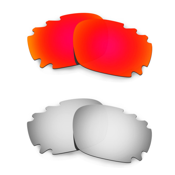 Hkuco Mens Replacement Lenses For Oakley Jawbone Vented Red/Titanium Sunglasses