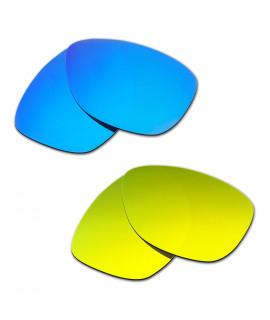 Hkuco Mens Replacement Lenses For Oakley Jupiter Blue/24K Gold Sunglasses