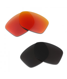 HKUCO Red+Black Polarized Replacement Lenses For Oakley Jupiter Squared Sunglasses