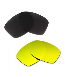 Hkuco Mens Replacement Lenses For Oakley Jupiter Squared Black/24K Gold Sunglasses