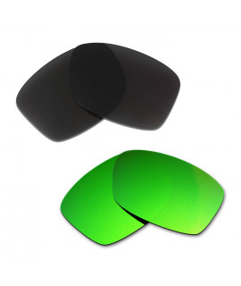 Hkuco Mens Replacement Lenses For Oakley Jupiter Squared Black/Emerald Green Sunglasses