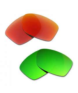 Hkuco Mens Replacement Lenses For Oakley Jupiter Squared Red/Emerald Green Sunglasses