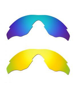 Hkuco Mens Replacement Lenses For Oakley M2 Blue/24K Gold Sunglasses