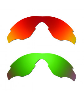 Hkuco Mens Replacement Lenses For Oakley M2 Red/Emerald Green Sunglasses