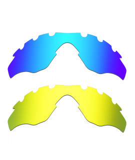 Hkuco Mens Replacement Lenses For Oakley M2-Vented Blue/24K Gold Sunglasses