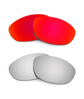 Hkuco Mens Replacement Lenses For Oakley Monster Dog Red/Titanium Sunglasses