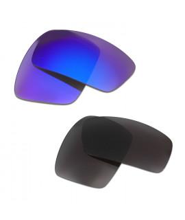 HKUCO Blue+Black Polarized Replacement Lenses For Oakley Oil Drum Sunglasses