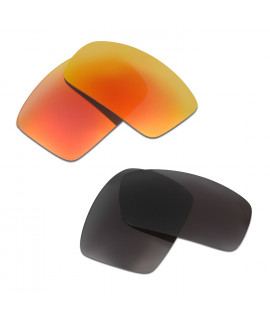 HKUCO Red+Black Polarized Replacement Lenses For Oakley Oil Drum Sunglasses
