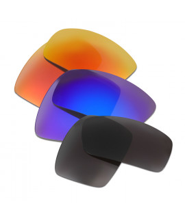 HKUCO Red+Blue+Black Polarized Replacement Lenses For Oakley Oil Drum Sunglasses