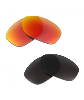 HKUCO Red+Black Polarized Replacement Lenses For Oakley Pit Bull Sunglasses