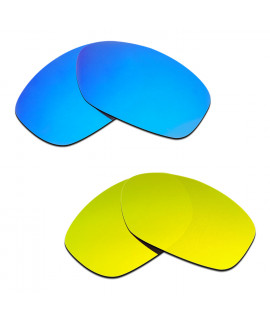 Hkuco Mens Replacement Lenses For Oakley Pit Bull Blue/24K Gold Sunglasses