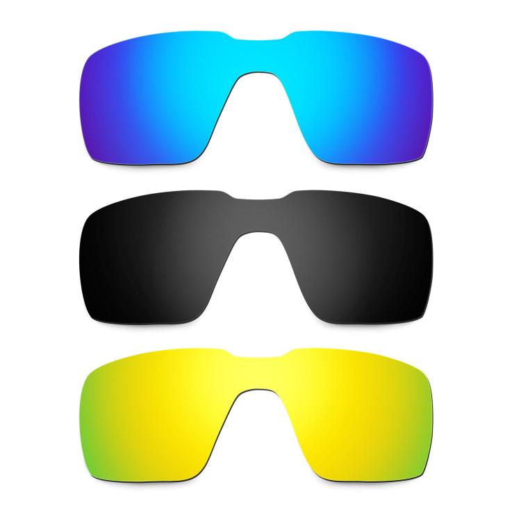 20e395aca50b8 Hkuco Mens Replacement Lenses For Oakley Probation Blue Black 24K Gold  Sunglasses