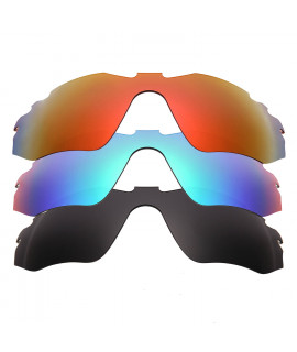 HKUCO Red+Blue+Black Polarized Replacement Lenses For Oakley Radar Edge Sunglasses