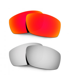 Hkuco Mens Replacement Lenses For Oakley Splinter Red/Titanium Sunglasses