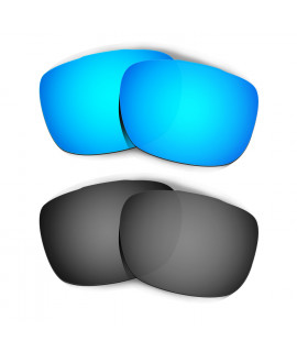 HKUCO Blue+Black Replacement Lenses For Oakley TwoFace Sunglasses