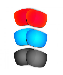 HKUCO Red+Blue+Black Replacement Lenses For Oakley TwoFace Sunglasses