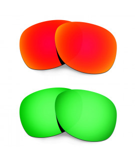 Hkuco Mens Replacement Lenses For Ray-Ban Wayfarer RB2132 55mm Red/Emerald Green Sunglasses