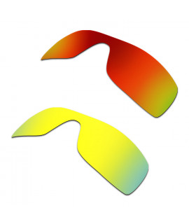 Hkuco Mens Replacement Lenses For Oakley Batwolf Red/24K Gold Sunglasses