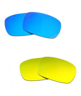 Hkuco Mens Replacement Lenses For Oakley Crankcase Blue/24K Gold Sunglasses