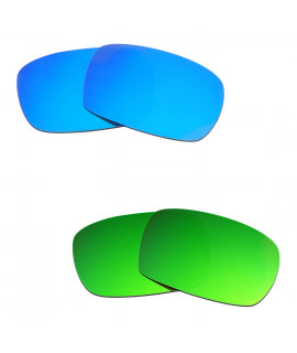 Hkuco Mens Replacement Lenses For Oakley Crankcase Blue/Green Sunglasses
