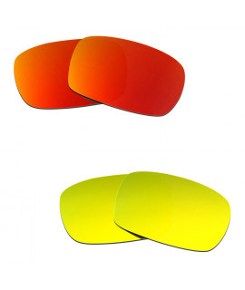 Hkuco Mens Replacement Lenses For Oakley Crankcase Red/24K Gold Sunglasses