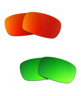 Hkuco Mens Replacement Lenses For Oakley Crankcase Red/Emerald Green Sunglasses