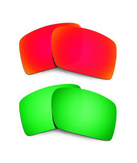 Hkuco Mens Replacement Lenses For Oakley Eyepatch 2 Red/Emerald Green Sunglasses