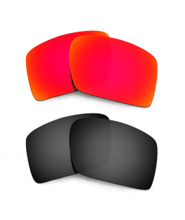 HKUCO Red+Black Polarized Replacement Lenses for Oakley Eyepatch 2 Sunglasses