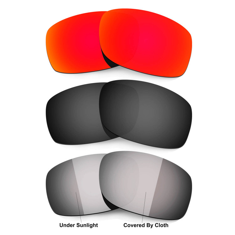 8c64dbe2e96 Hkuco Red Black Transition Photochromic Polarized Replacement Lenses For Oakley  Fives Squared Sunglasses