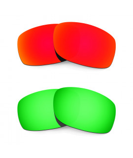 Hkuco Mens Replacement Lenses For Oakley Fives Squared Red/Emerald Green Sunglasses