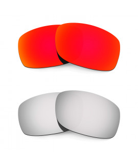 Hkuco Mens Replacement Lenses For Oakley Fives Squared Red/Titanium Sunglasses