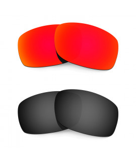 HKUCO Red+Black Polarized Replacement Lenses for Oakley Fives Squared Sunglasses