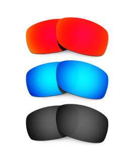 HKUCO Red+Blue+Black  Polarized Replacement Lenses for Oakley Fives Squared Sunglasses