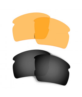 bd7a0fba5d0 Hkuco Mens Replacement Lenses For Oakley Flak 2.0 XL Sunglasses Black Transparent  Yellow Polarized