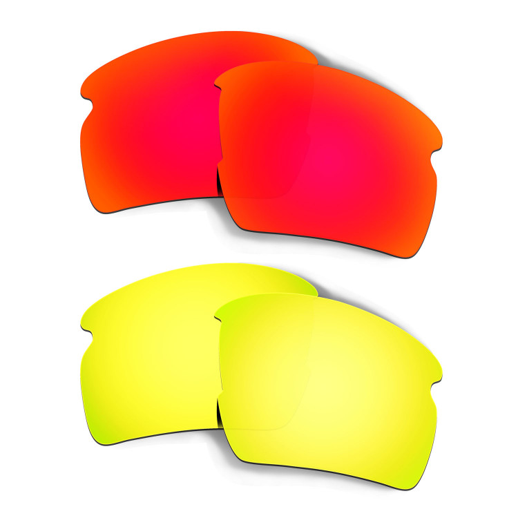 f4e272721d Hkuco Mens Replacement Lenses For Oakley Flak 2.0 XL Red 24K Gold Sunglasses