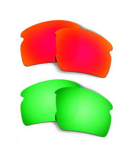 Hkuco Mens Replacement Lenses For Oakley Flak 2.0 XL Red/Emerald Green Sunglasses