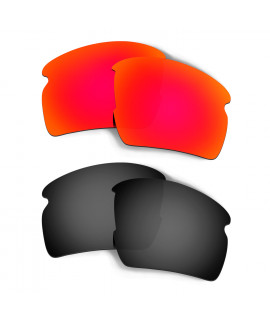 HKUCO Red+Black Polarized Replacement Lenses for Oakley Flak 2.0 XL Sunglasses