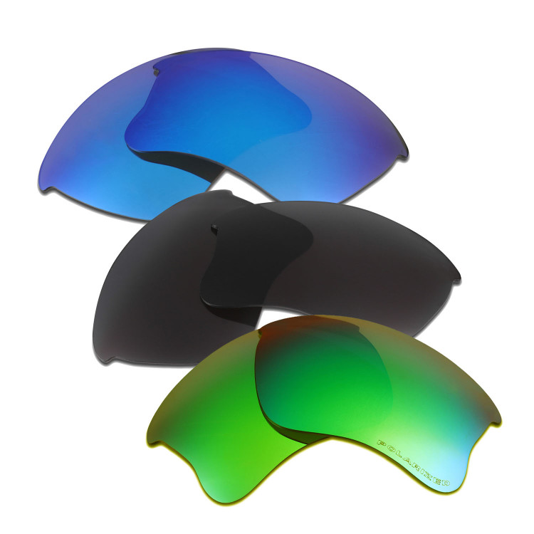 df8cd32f90b HKUCO Blue+Black+Emerald Green Polarized Replacement Lenses for Oakley Flak  Jacket XLJ Sunglasses
