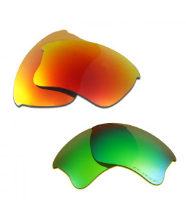 HKUCO Red+Emerald Green Polarized Replacement Lenses for Oakley Flak Jacket XLJ Sunglasses