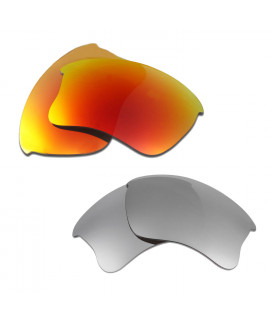 HKUCO Red+Titanium Polarized Replacement Lenses for Oakley Flak Jacket XLJ Sunglasses