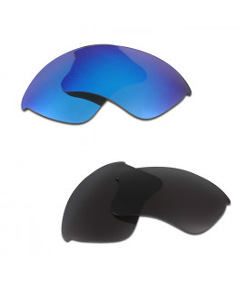 HKUCO Blue+Black Polarized Replacement Lenses for Oakley Flak Jacket XLJ Sunglasses