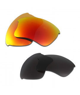 HKUCO Red+Black Polarized Replacement Lenses for Oakley Flak Jacket XLJ Sunglasses