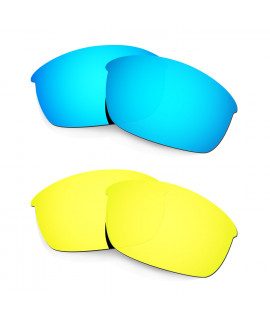 Hkuco Mens Replacement Lenses For Oakley Flak Jacket Blue/24K Gold Sunglasses