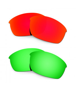 Hkuco Mens Replacement Lenses For Oakley Flak Jacket Red/Emerald Green Sunglasses