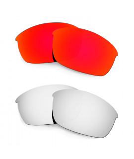 Hkuco Mens Replacement Lenses For Oakley Flak Jacket Red/Titanium Sunglasses